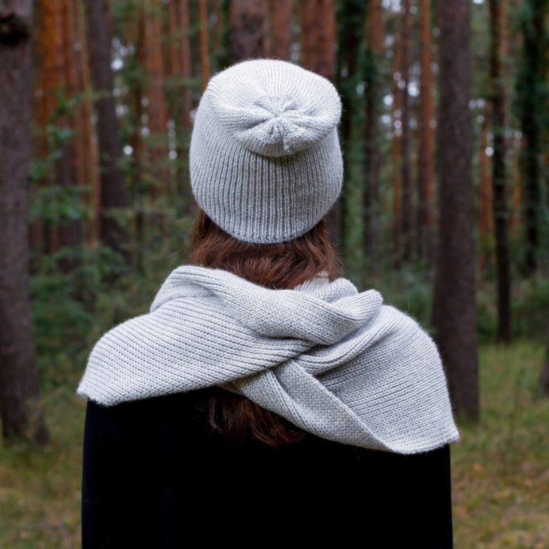Strickmode handmade beanie muetze loop schal alpaka wolle hellgrau fellblick