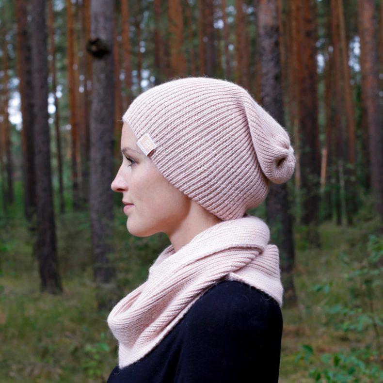 Strickmode handmade beanie muetze loop schal alpaka wolle rosa fellblick