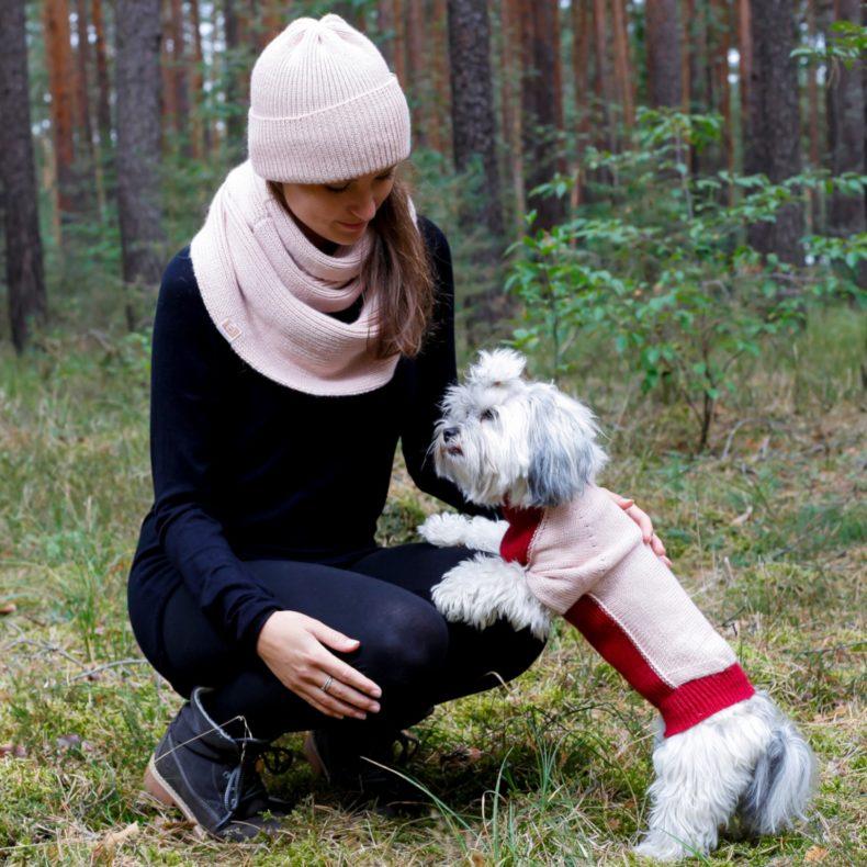 handgestrickt massgefertigt partnerlook hundepullover beanie loop alpaka wolle rosa rot fellblick
