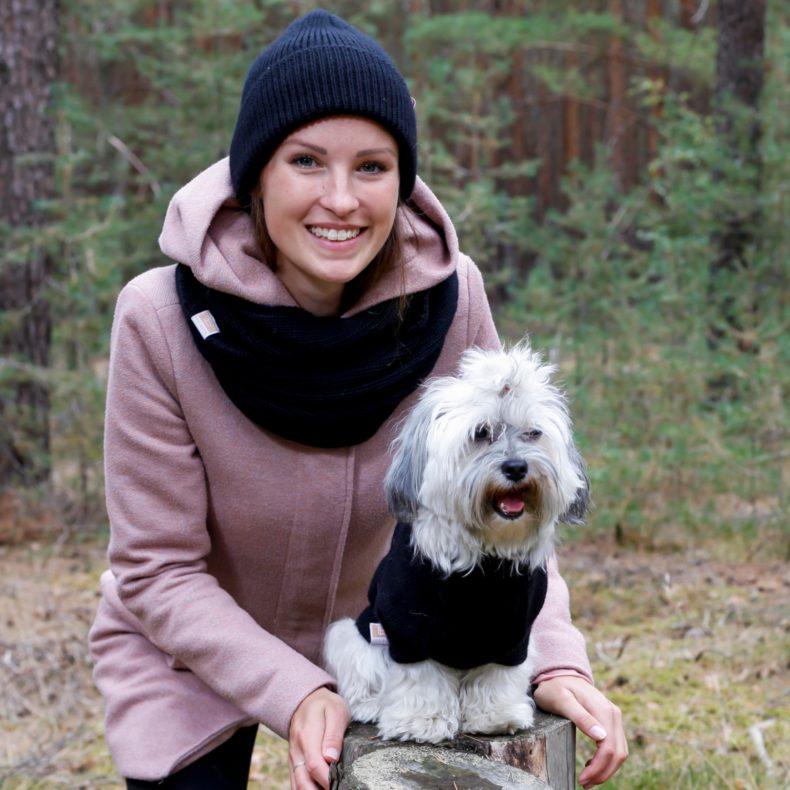 handgestrickt massgefertigt partnerlook hundepullover beanie loop alpaka wolle schwarz fellblick